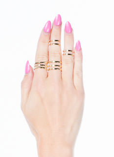 Double N Single Slit Midi Ring Set