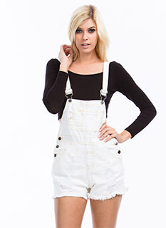 No Stress Distressed Denim Shortalls
