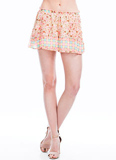 Checker It Out Floral Shorts
