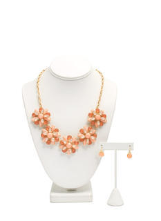 Double Layer Floral Necklace Set