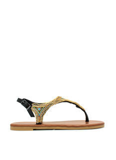 Beaded Nomad T-Strap Sandals