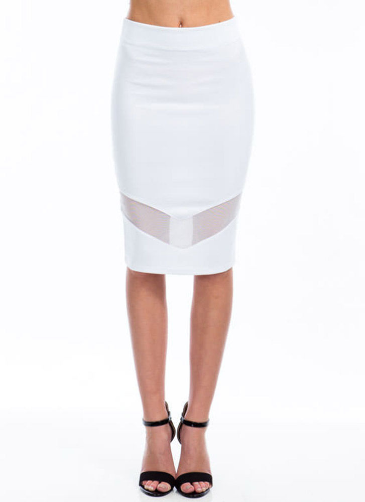 Sheer Up Mesh Inset Midi Skirt