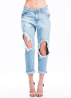 Broken In Cut-Out Boyfriend Jeans