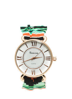 Tribal Fabric Strap Boyfriend Watch