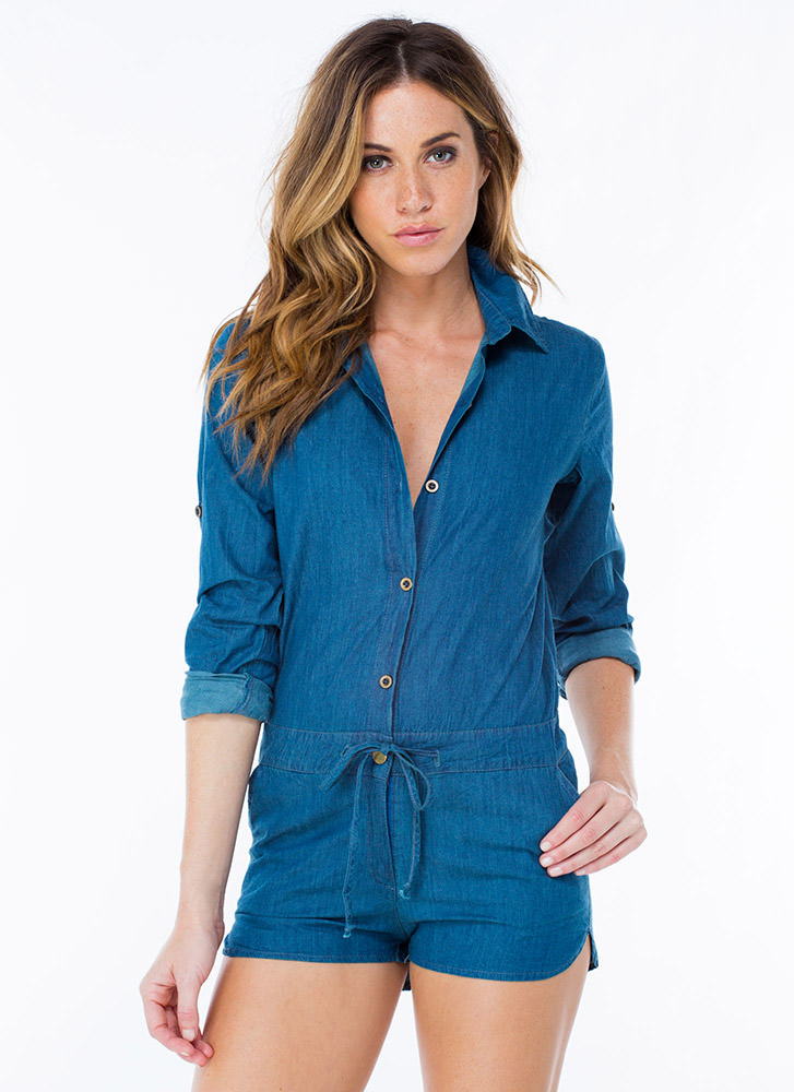 Drawstring You In Chambray Romper