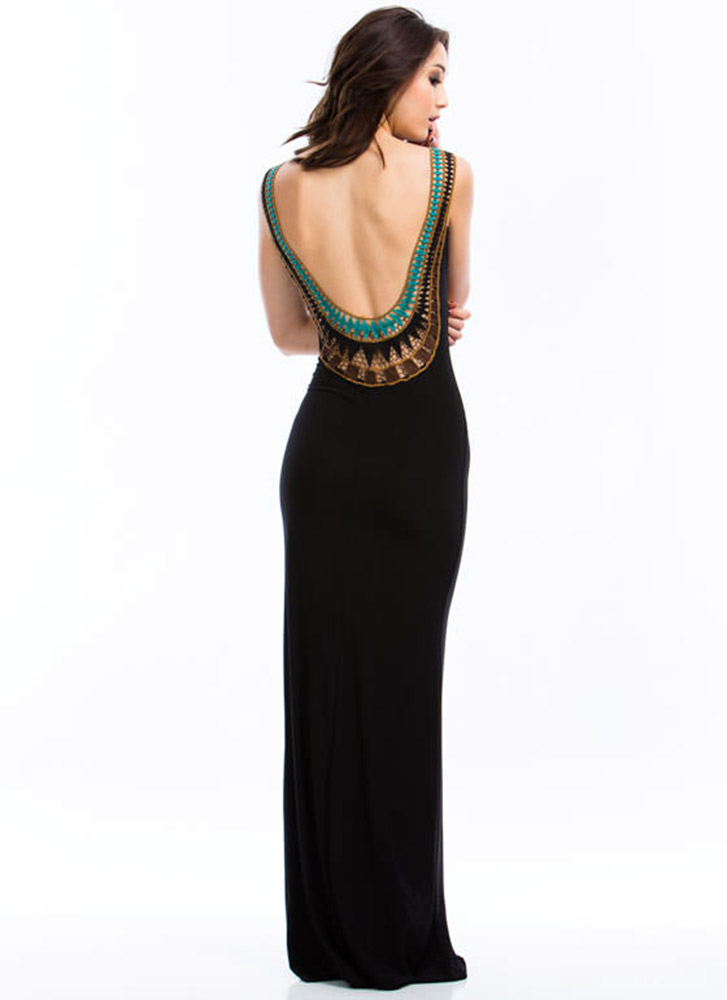 Plunging Embroidered Maxi Dress
