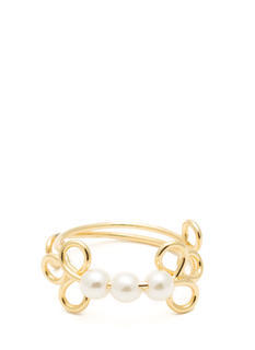 Adjustable Swirly Faux Pearl Ring