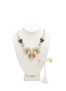 Jeweled Chain Faux Stone Necklace Set