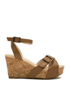 X Marks The Buckled Faux Cork Wedges