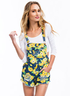 Doll Up In Daisies Denim Shortalls