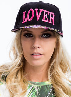 Floral Brim Embroidered Lover Snapback