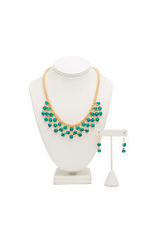 Draped Faux Jewels Necklace Set