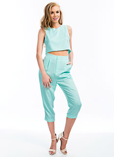 Pleated Georgette Capri Trousers