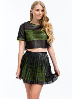Laser Perforated Faux Leather Skirt