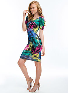 Leaf Me Be Tropical Palm Frond Dress