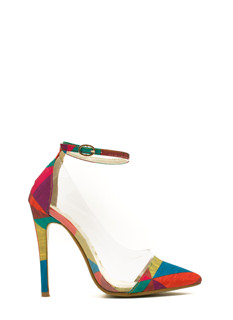 Traffic Colorblock Clear Inset Heels
