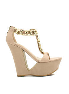Chain Smokin' Strappy Cut-Out Wedges