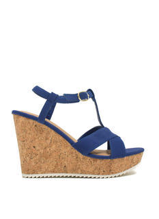 Crisscross Faux Cork Wedges