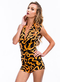 So Symbolic Graffiti Print Romper