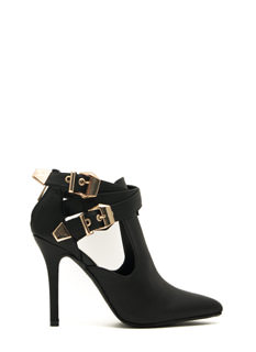 Edgy Girl Faux Leather Stiletto Booties