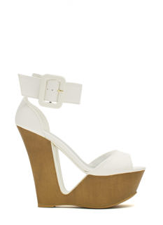 Cut It Out Buckled Ankle Cuff Wedges