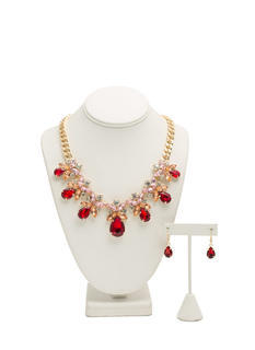Teardrop Faux Jewels Necklace Set