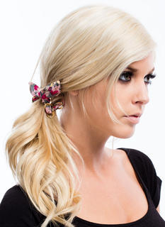 Chained Wired Floral Fabric Hair Tie