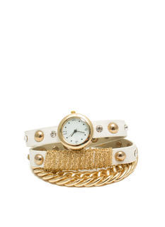 Faux Leather 'N Chains Watch Set
