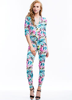 Body Sprayed Graffiti Print Jumpsuit