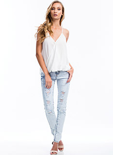 Snow Wash Shredded Skinny Jeans