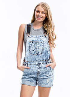 Faux Leather 'N Acid Wash Shortalls