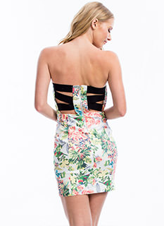 Birds 'N Leaves Strapless Dress