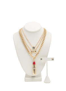 Bow And Lipstick Three-Necklace Set