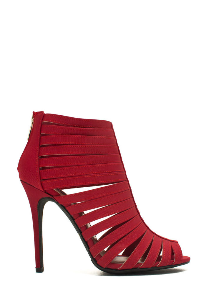 Banded 'N Caged Bootie Heels