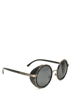 Faux Leather Round Sunglasses