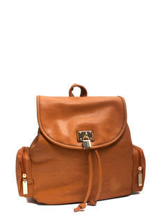 Faux Leather Lock Charm Backpack