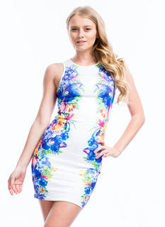 Tropical Oasis Mirrored Floral Dress