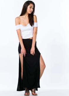 Double Trouble Slit Maxi Skirt
