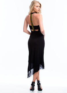 Asymmetrical Beaded T-Back Dress