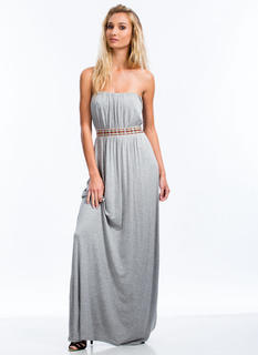 Tribal Ribbon Strapless Maxi Dress