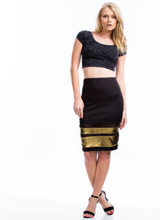 Metallic Stripe Mesh Skirt