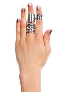 Coiled And Wrapped Metal Ring Trio