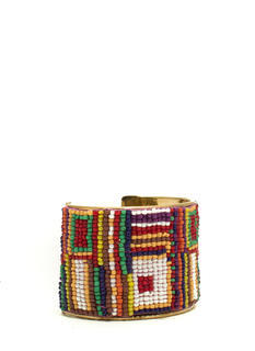 Abstract Squares Beaded Cuff