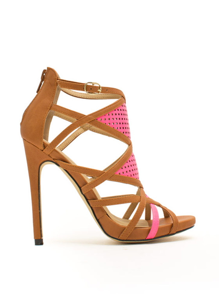 Luxe Sport Perforated Strappy Heels