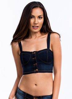 Denim Daze Bustier Cropped Top