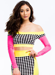 Checkered 'N Colorblocked Cropped Top