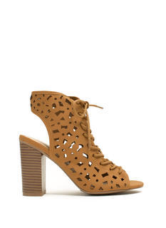 Geo Cut-Out Lace-Up Heels