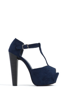 To The T-Strap Chunky Peep-Toe Heels