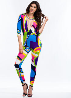 Psychedelic Me Out Plunging Jumpsuit