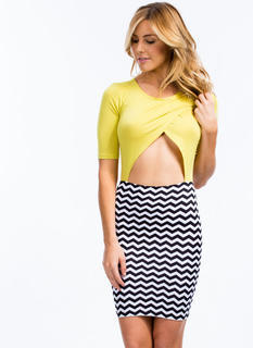 Two Become One Chevron Cut-Out Dress